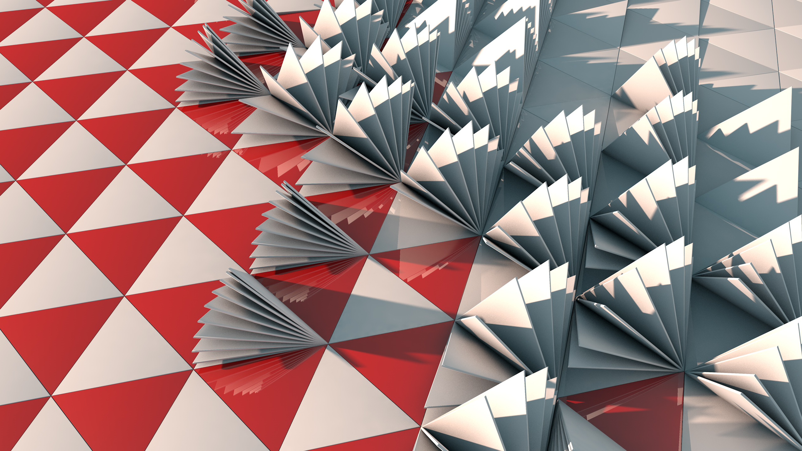 3D TRIANGLE RED ABSTRACT RED XJ WALLPAPER