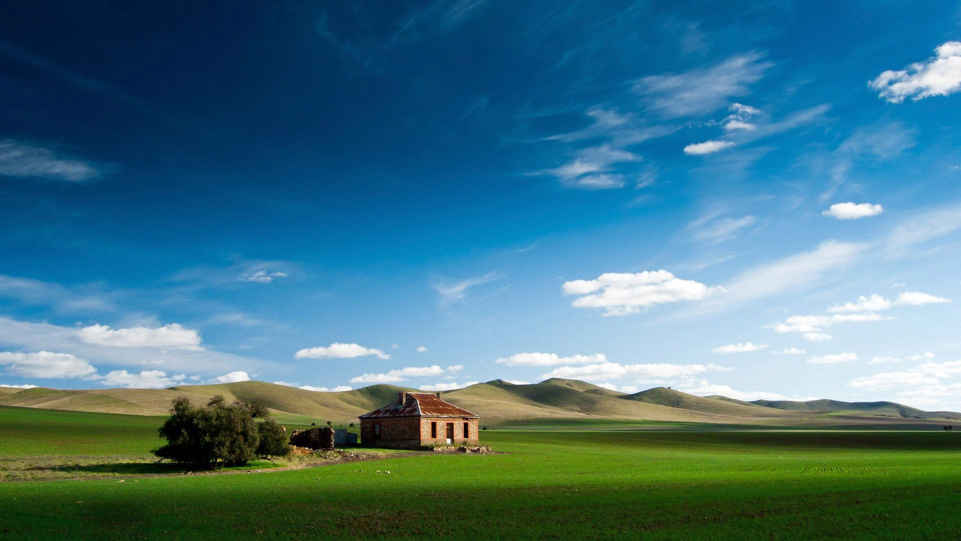 Download Abandoned Brick House On Green Field  Wallpaper