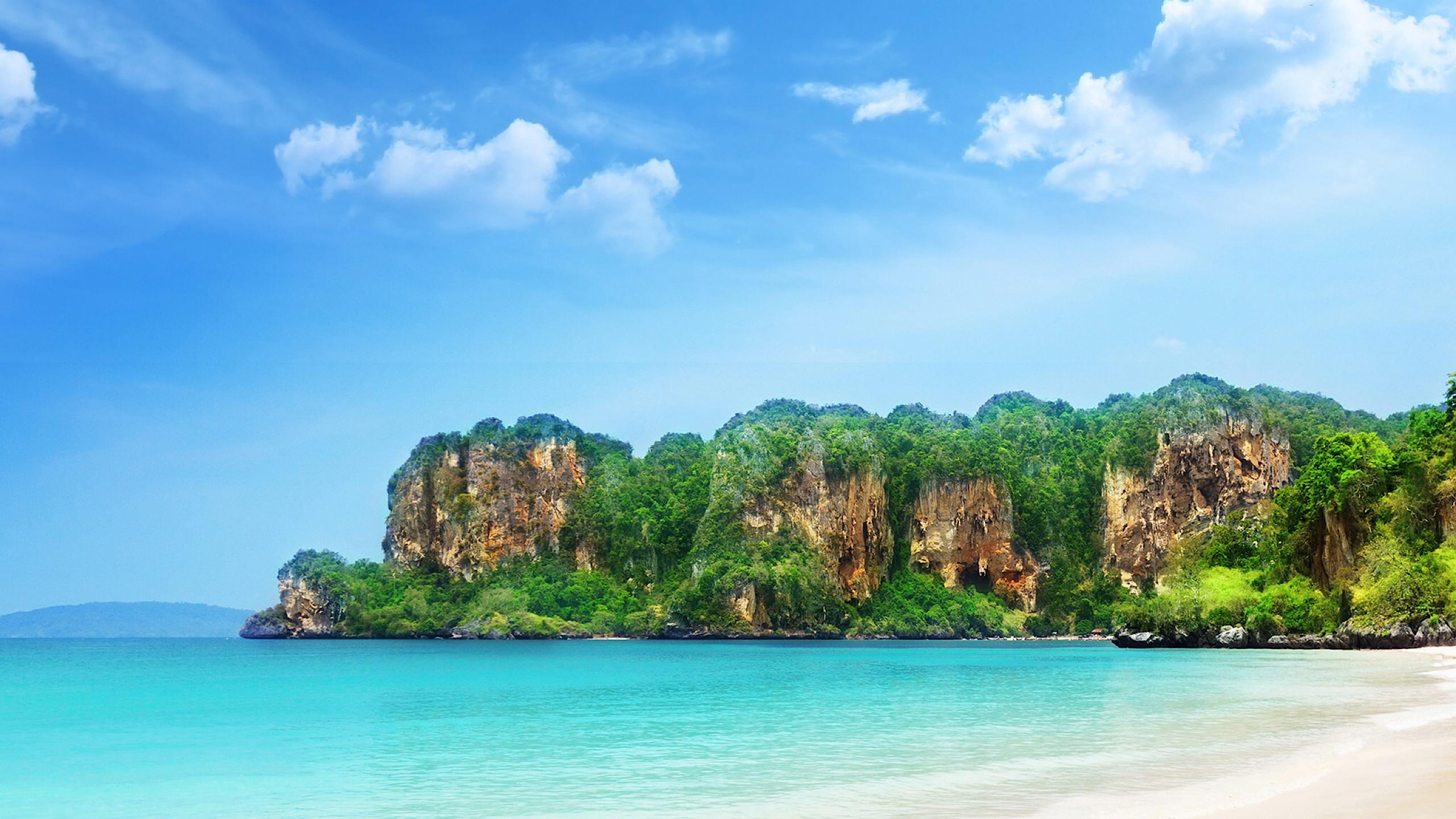 Download Beachside With Mountains X  Wallpaper