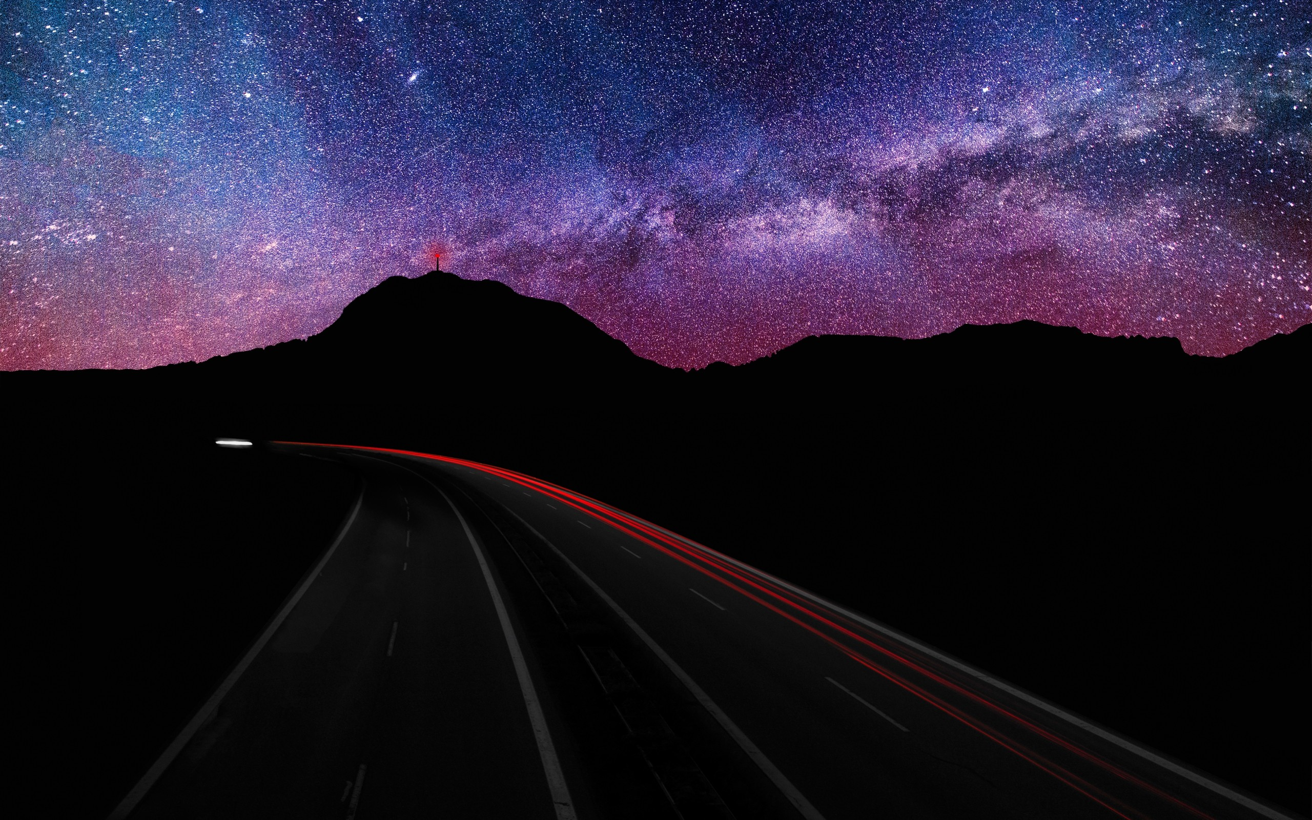 Blue Mountains Landscapes Nature Night Stars Purple Hills Roads Long Exposure Milky Way Hdr Photography Skyscapes