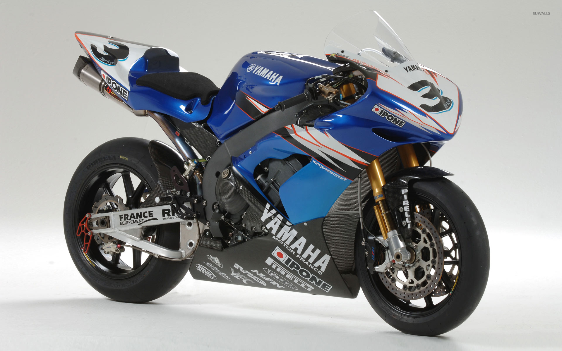 Blue Yamaha Yzf R1 Front Side View 53031 1920×1200 Wallpaper