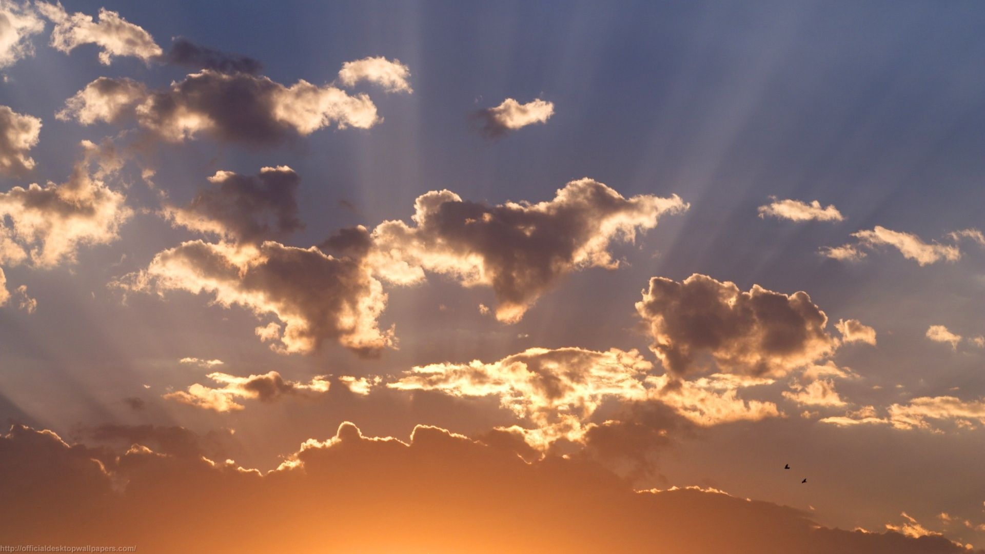 Download Clouds Sun Rays Wallpaper