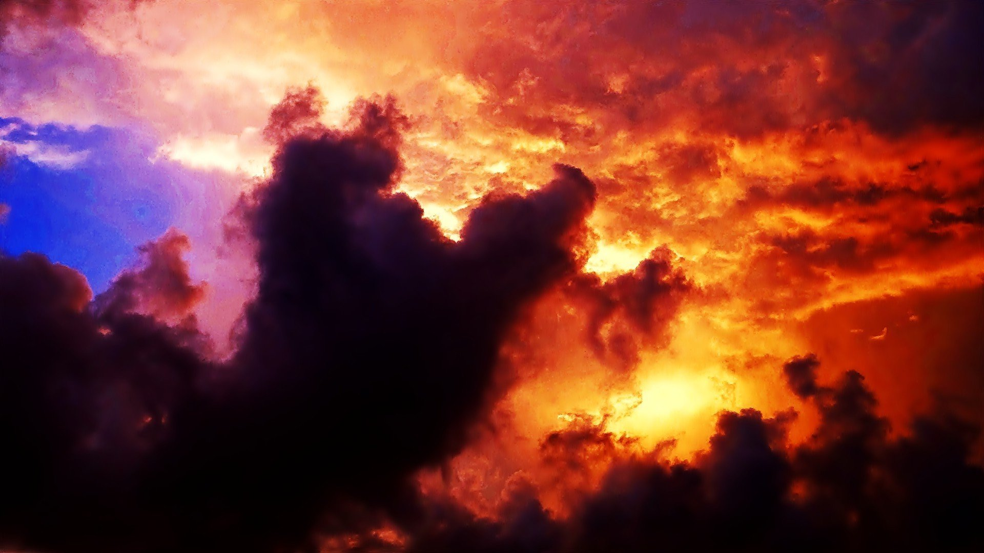 Download Colorful Sunset Behind The Clouds  Wallpaper