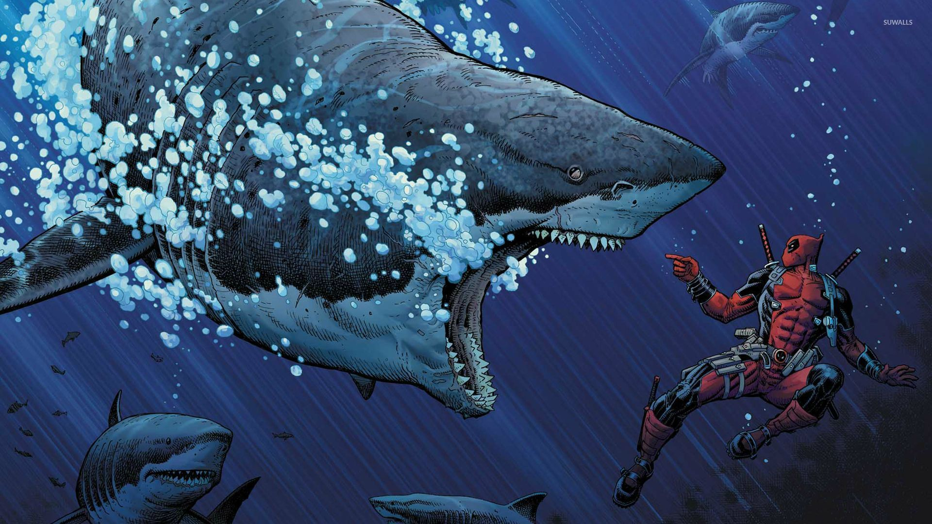 Deadpool And Great White Sharks 40884 1920×1080 Wallpaper
