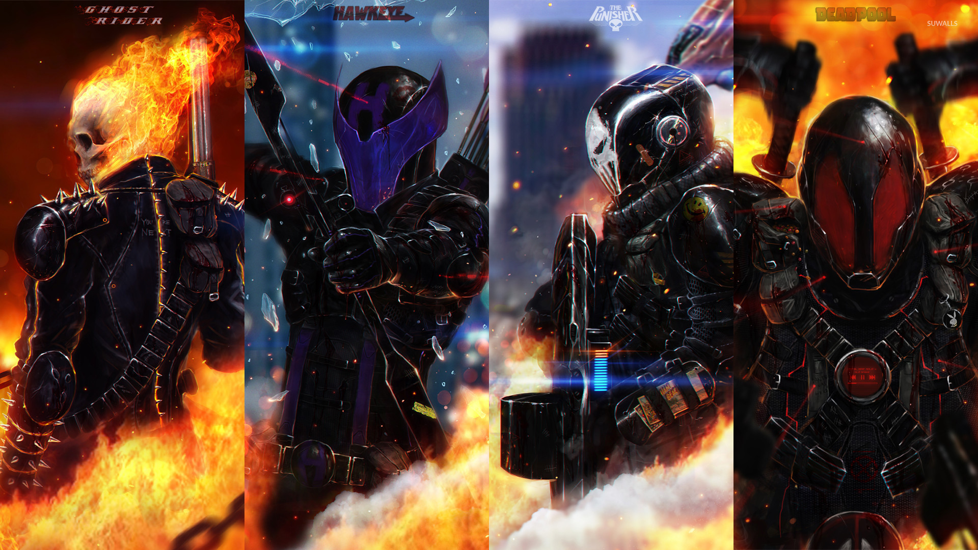 Ghost Rider Hawkeye The Punisher And Deadpool 29344 1920×1080 Wallpaper