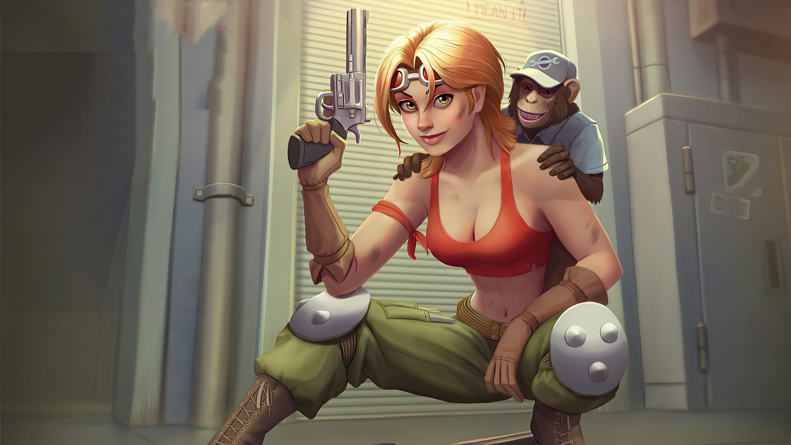 Girl With Gun And Monkey Mg Wallpaper 3840x2160 resolution