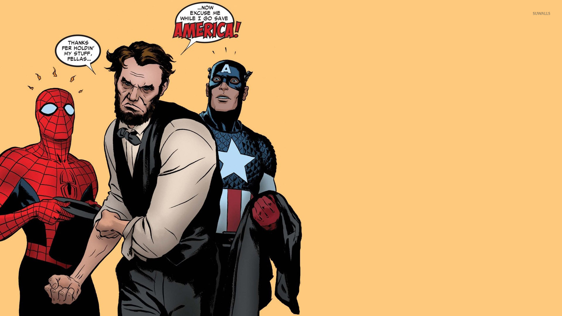 Lincoln With Spider Man And Captain America 49744 1920×1080 Wallpaper