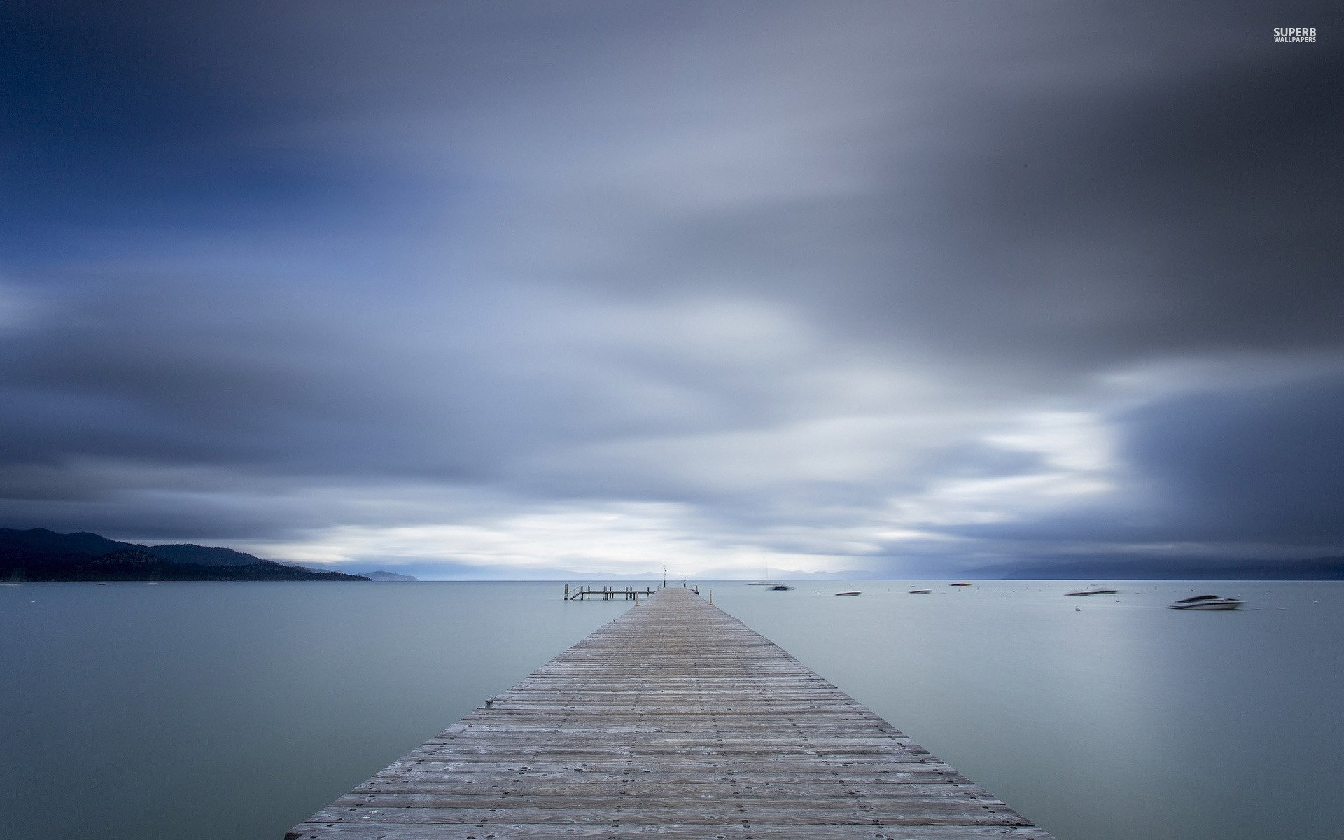Download Pier To The Foggy Lake  Wallpaper