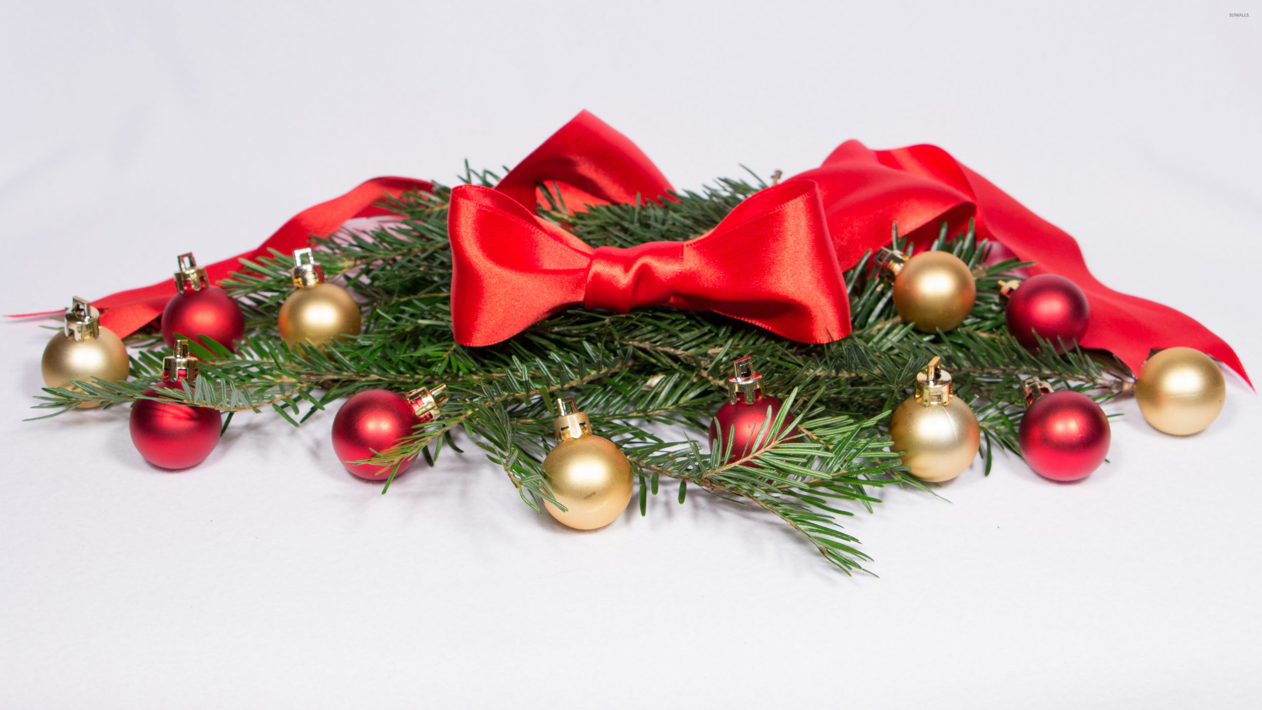 Red Ribbon And Baubles On Fir Branches 51531 3840×2160 Wallpaper