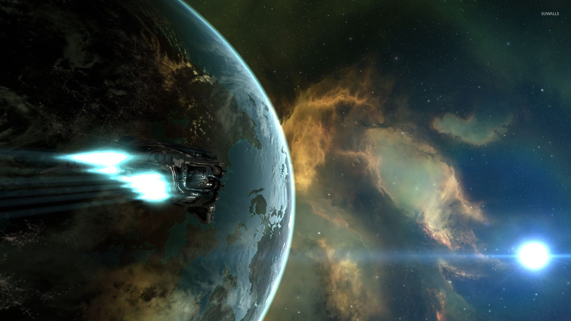 Spaceship Flying To The Nebula 36761 1920×1080 Wallpaper