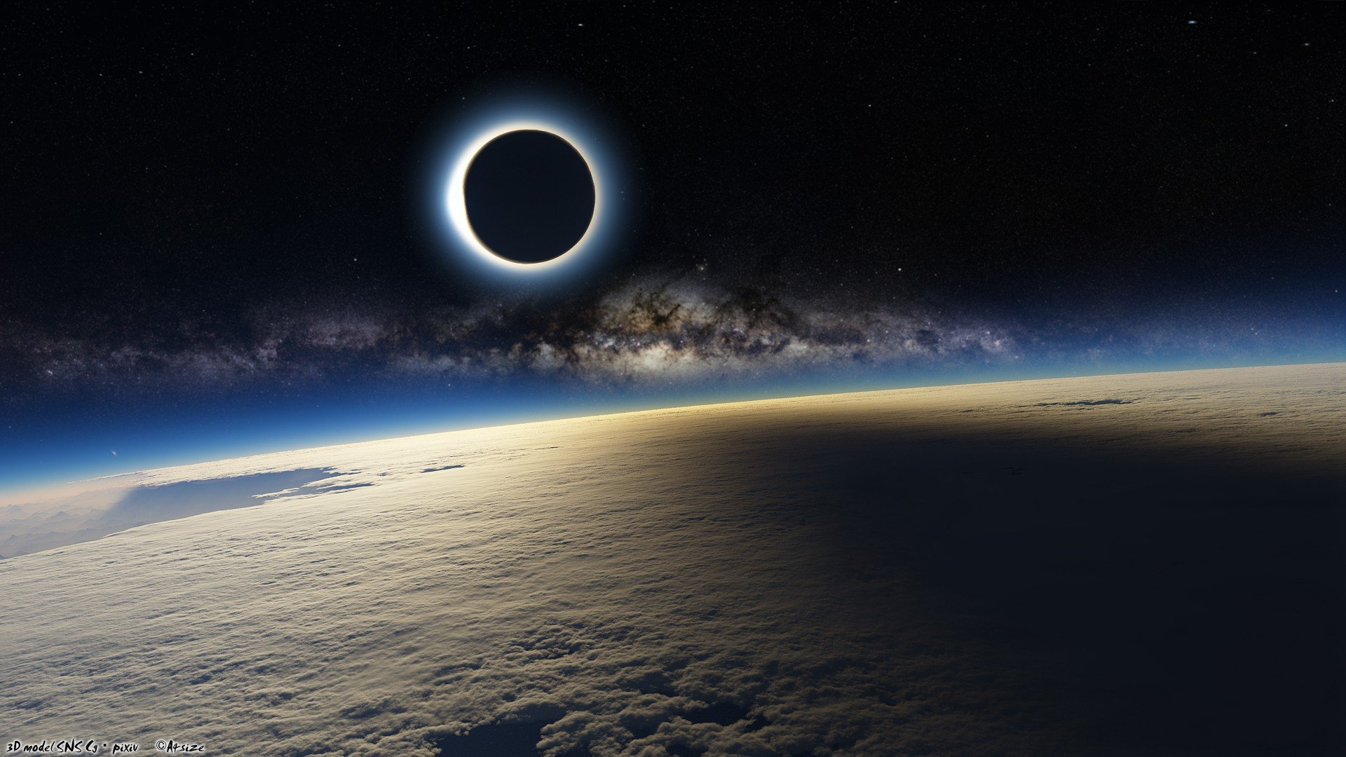 Sun Outer Space Stars Galaxies Moon Earth Eclipse Skyscapes Solar Eclipse