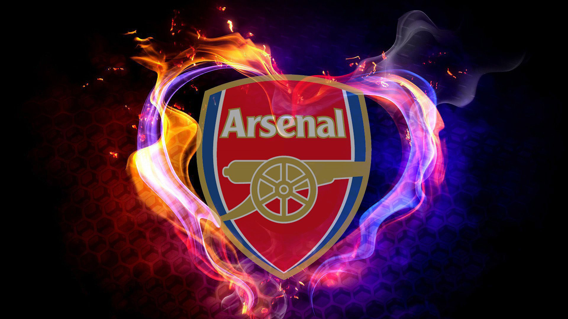 Download Arsenal Logo In Colorful Fire Background Hd Arsenal