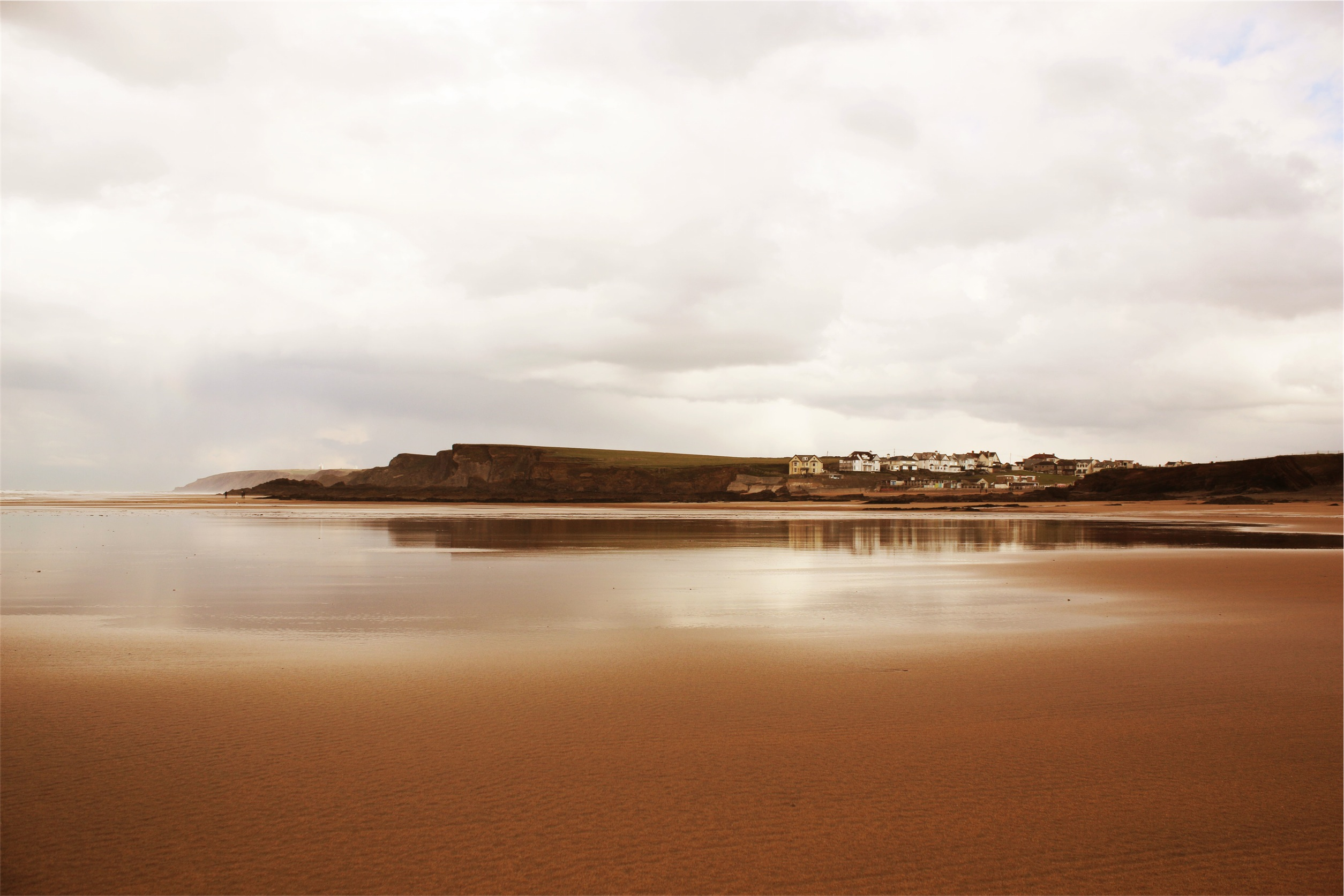 Download Beach Brown Clouds Coast Gray Houses Orange Pink Sand Sea Water White