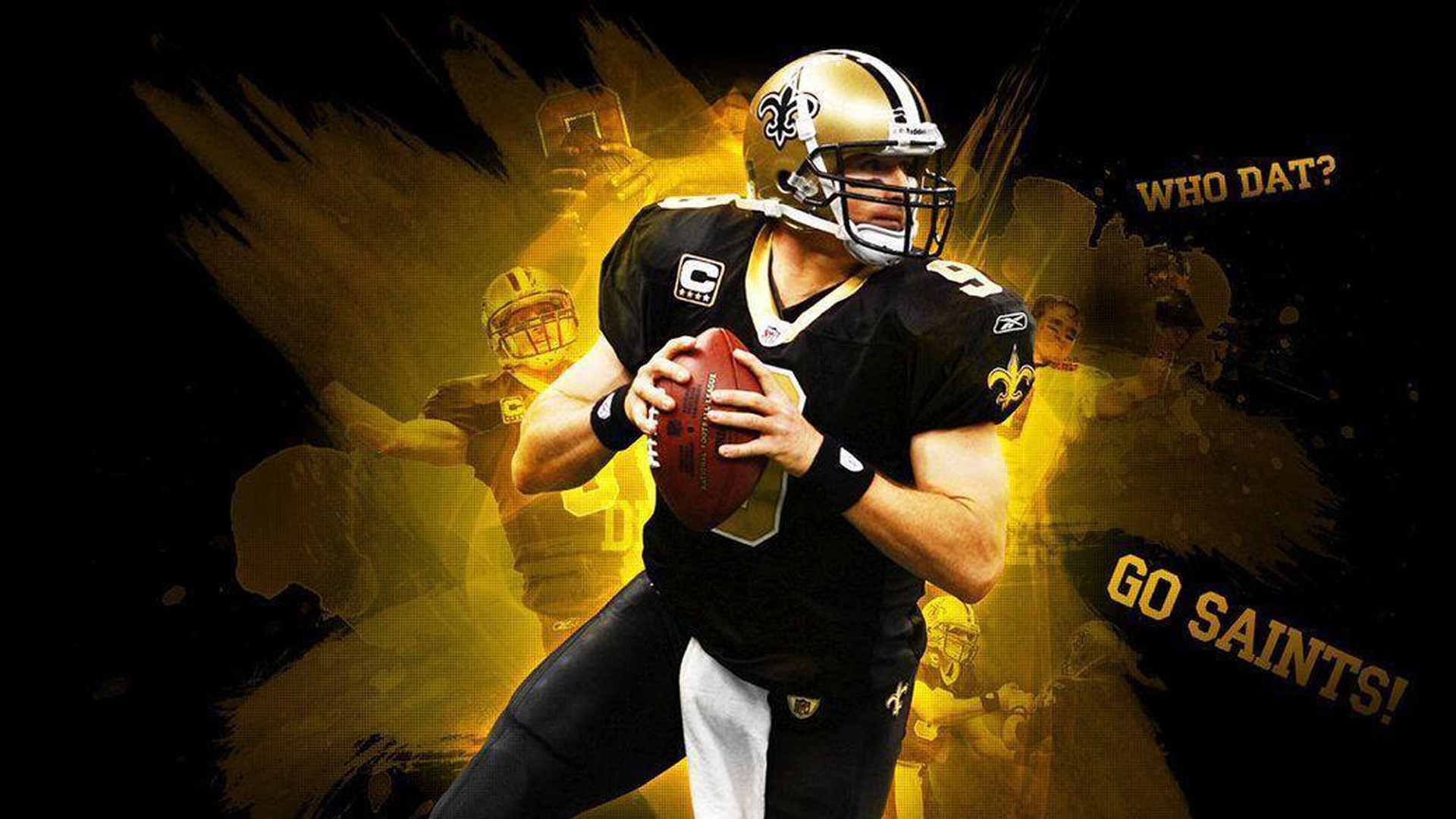 Download Drew Brees With Background Of Yellow And Black Hd Drew Brees