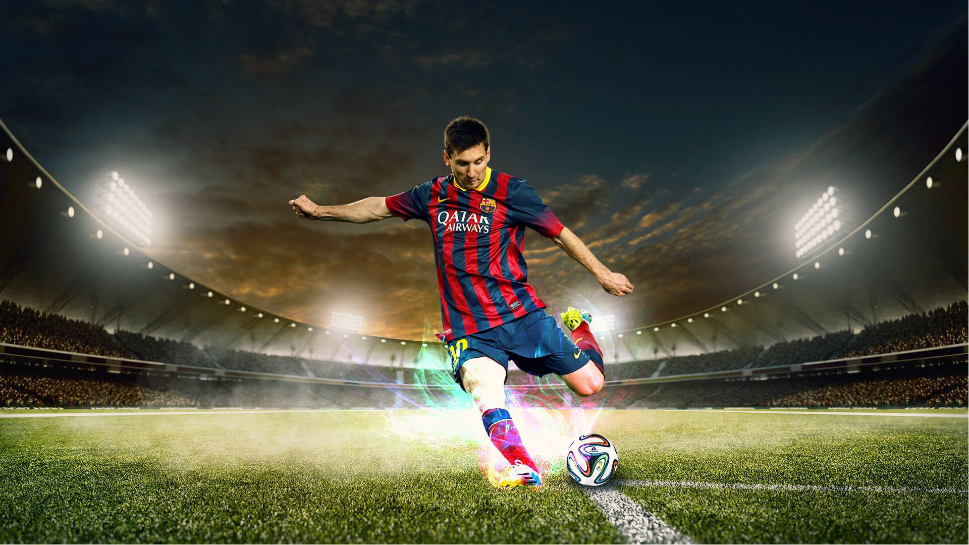 Download Football Player Is Hitting A Ball With Leg Wearing Red Blue Dress Hd Football