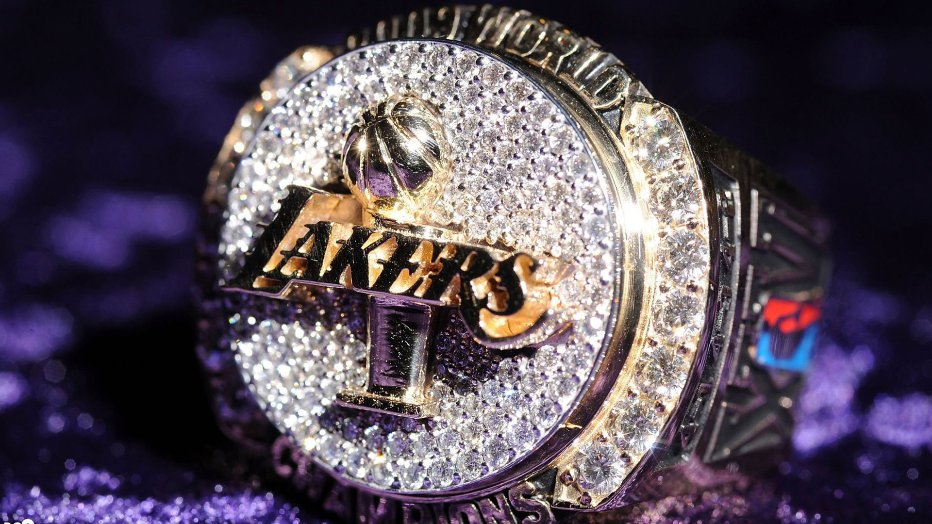 Download Lakers Logo In Blur Purple Background Basketball Hd Sports