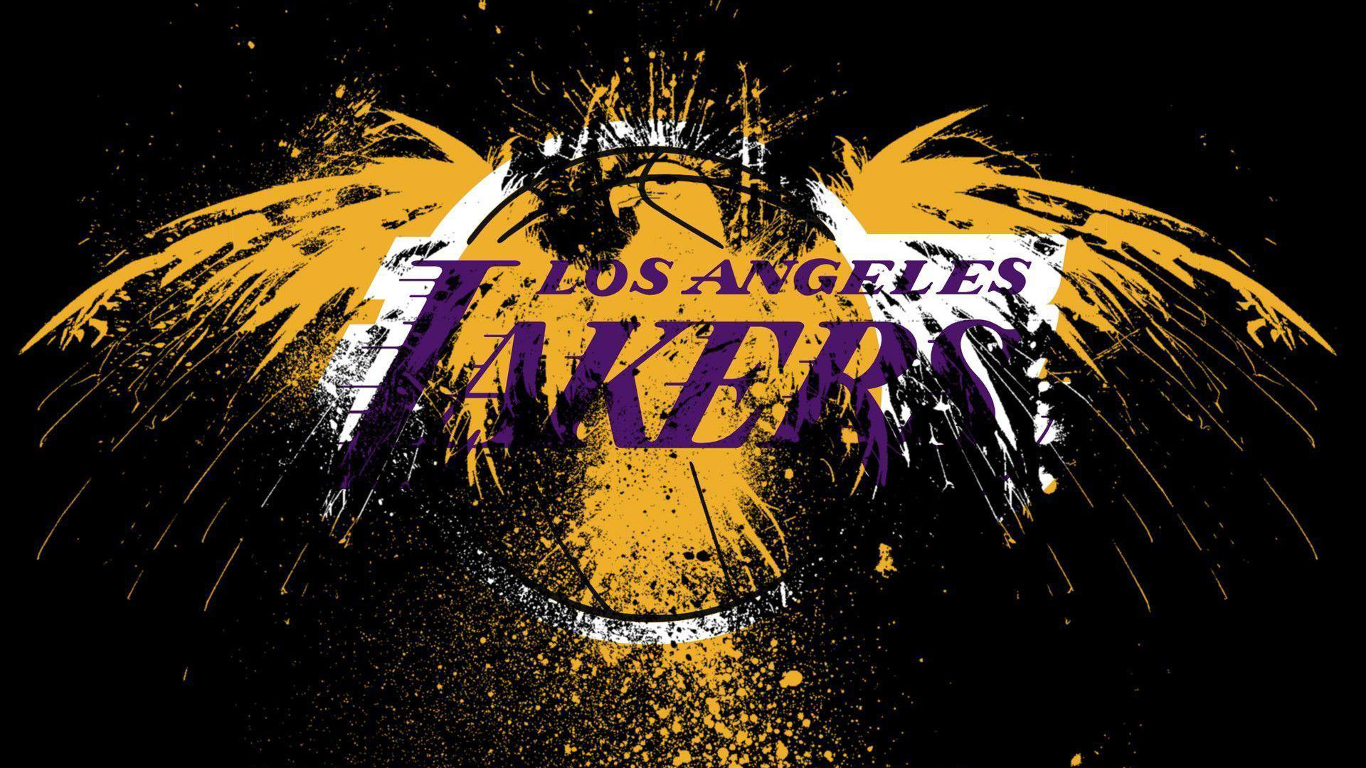 Download Lakers Logo In Yellow Bird With Black Background Basketball Hd Sports