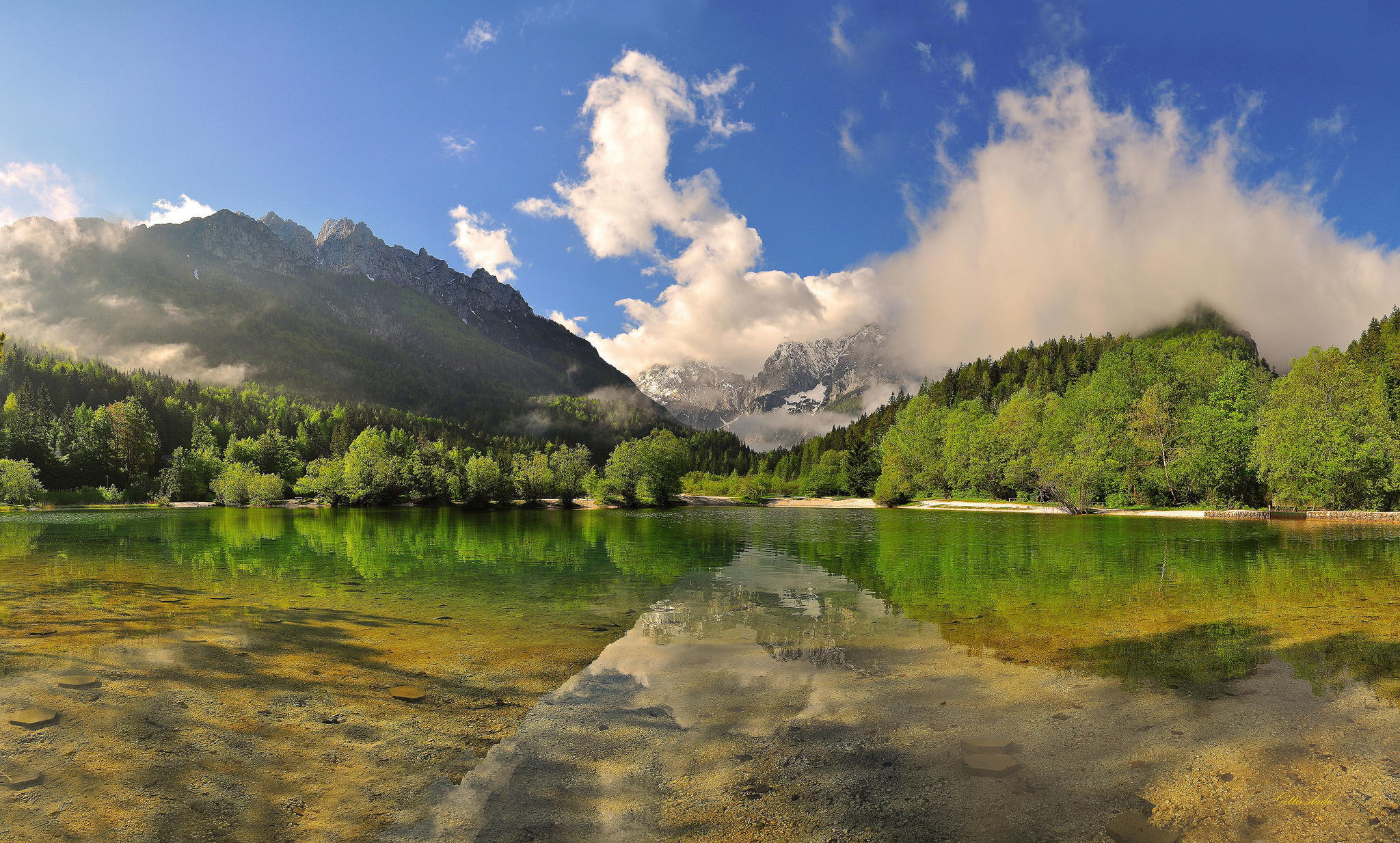 Download Mountain Reflection In Lake Green Landscape