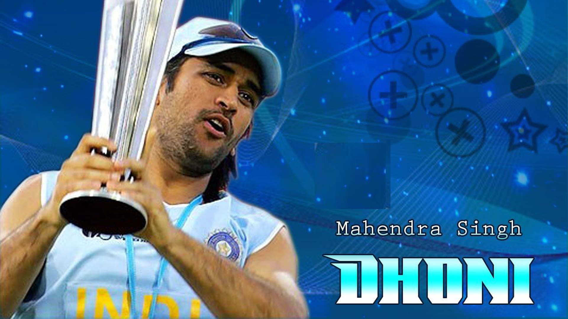 Download Ms Dhoni With Trophy Blue Background Hd Dhoni