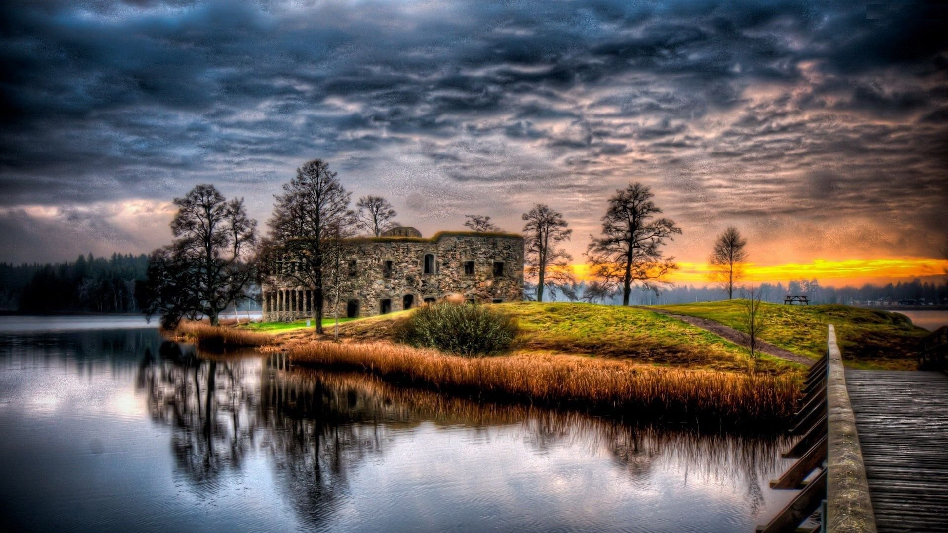 Download River House Reflection Hdr Clouds Water Trees