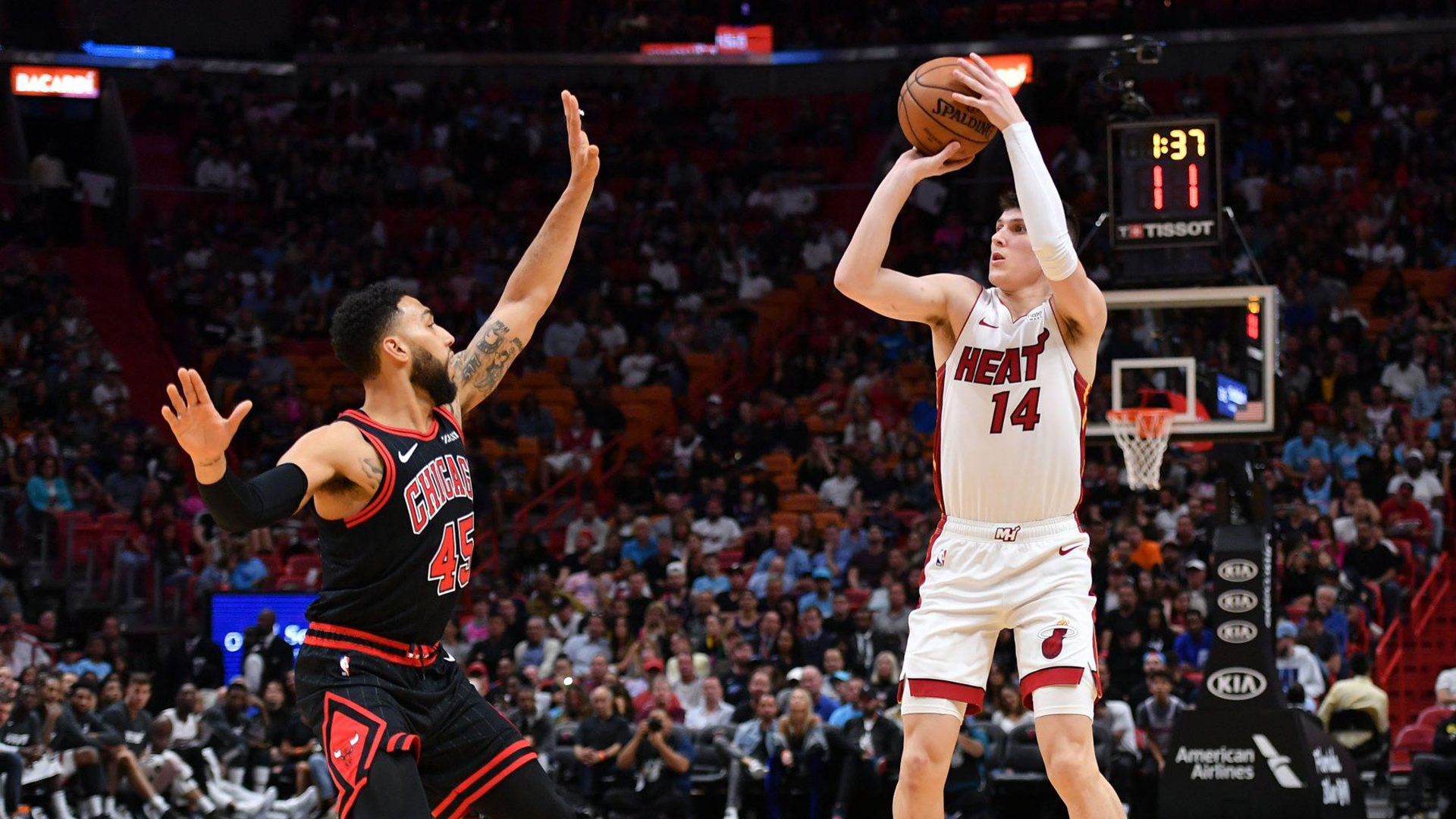 Download Tyler Herro Is Trying To Put Ball To Basket From Long Distance Wearing White Dress Hd Sports