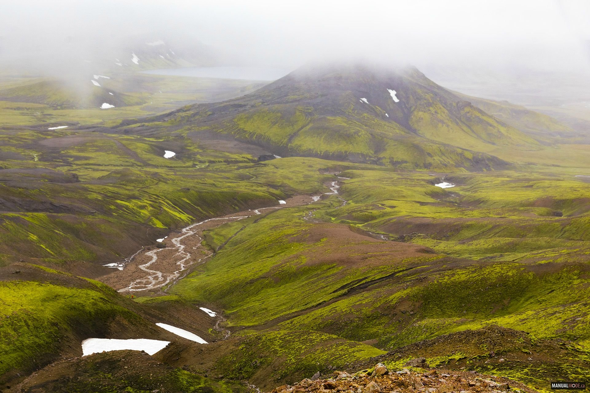 Download We Left An Icy Tundra And Went Down The Mountain And Landed Into A Beautiful Lush Green Valley On Our Way To Alftavatn Iceland