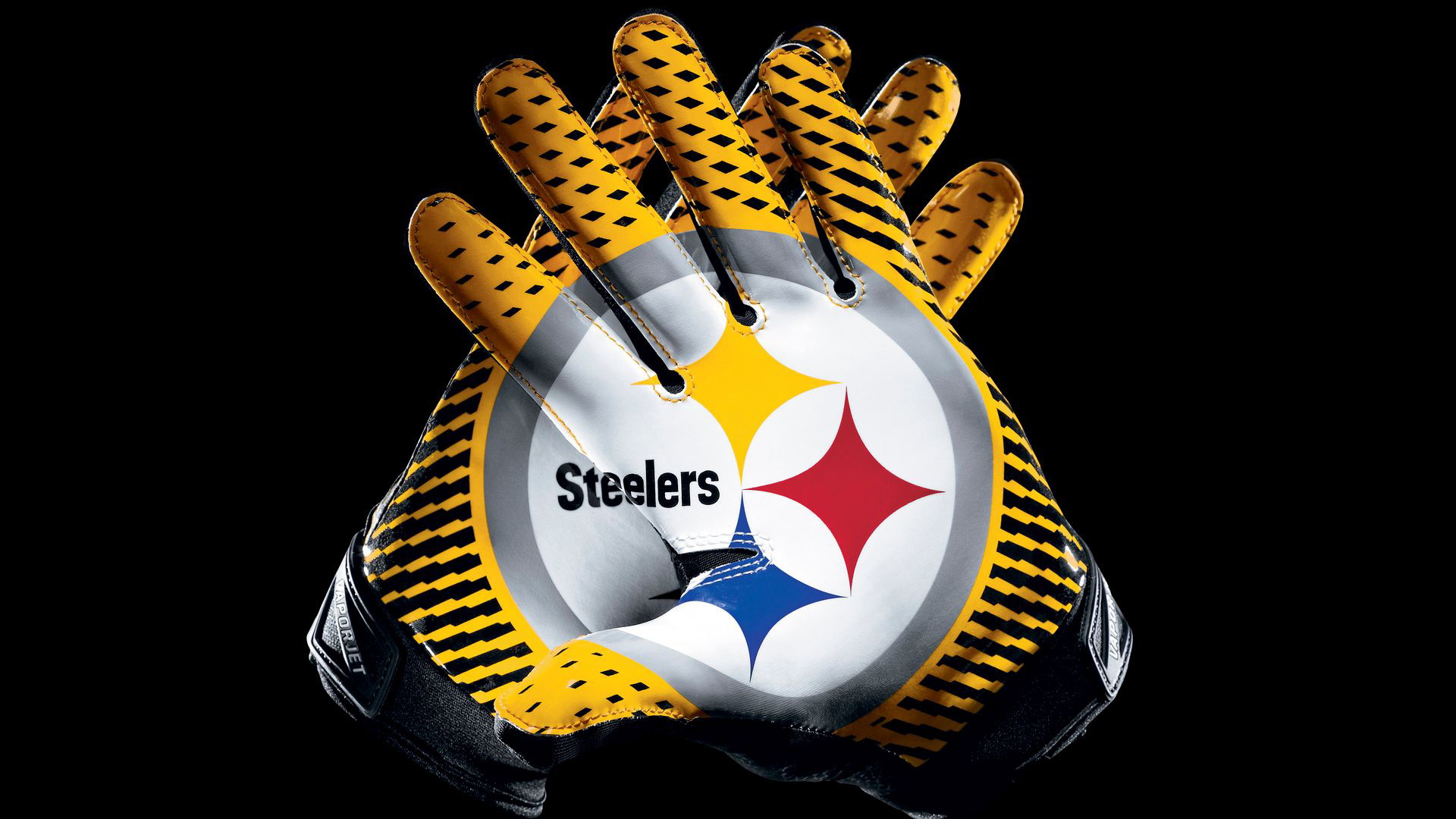 Download Yellow And Black Gloves With Steelers Symbol In Black Background Hd Steelers